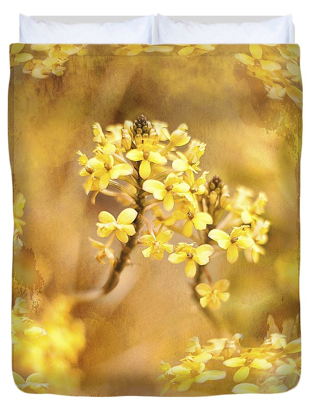 Orchids Duvet Cover featuring the painting Duet by Lorelei Bleil