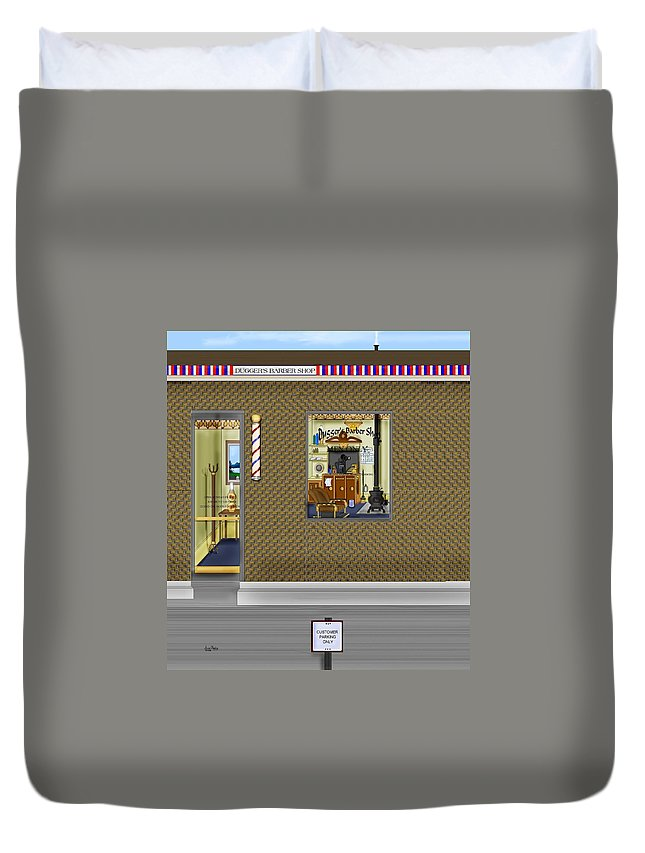 Townscape Duvet Cover featuring the painting Dugger's Barber Shop by Anne Norskog