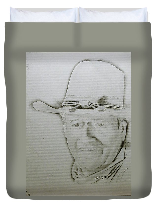 John Wayne Duvet Cover featuring the drawing Duke by Mike Parsons