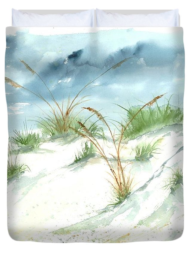 Beach Duvet Cover featuring the painting Dunes 3 Seascape Beach Painting Print by Derek Mccrea
