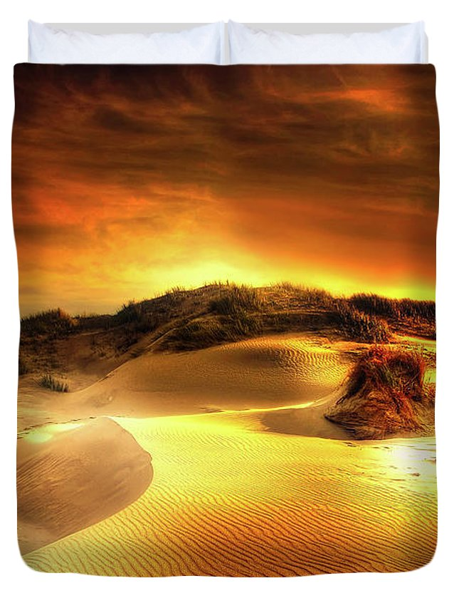 Sunset Duvet Cover featuring the photograph Dunes At Sunset by Kordi Vahle