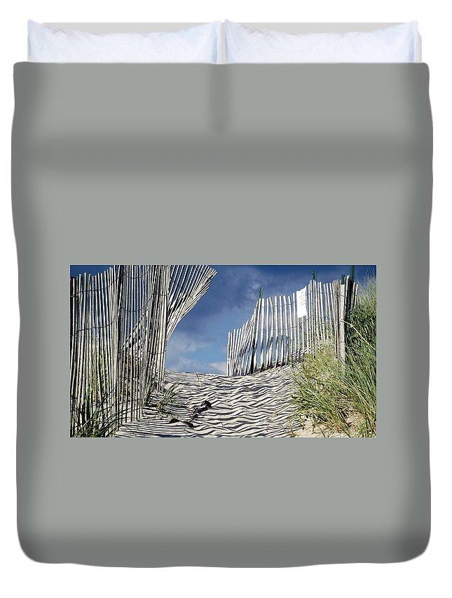 Dunes Duvet Cover featuring the photograph dunes in RI by Agnieszka Adamska