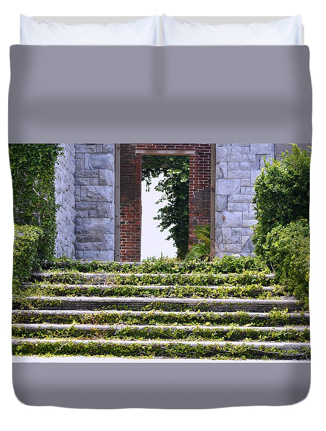 Cumberland Island Duvet Cover featuring the photograph Dungeness Front Steps by Debra White