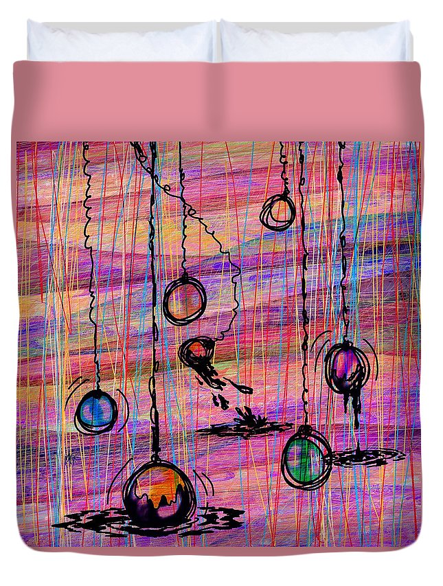 Abstract Duvet Cover featuring the digital art Dunking Ornaments by Rachel Christine Nowicki