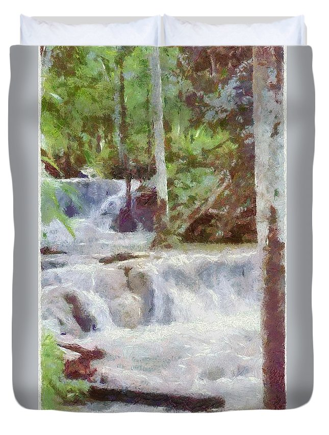 Dunn River Duvet Cover featuring the painting Dunn River Falls by Jeffrey Kolker