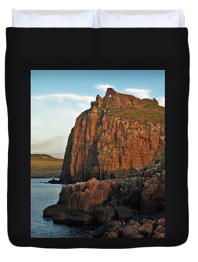 Scotland Duvet Cover featuring the photograph Duntulm Castle by Colette Panaioti
