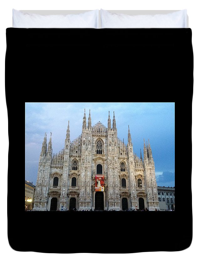 Duomo At Dusk - Milan Duvet Cover featuring the photograph Duomo - Milan -italy by Rebecca K Williams