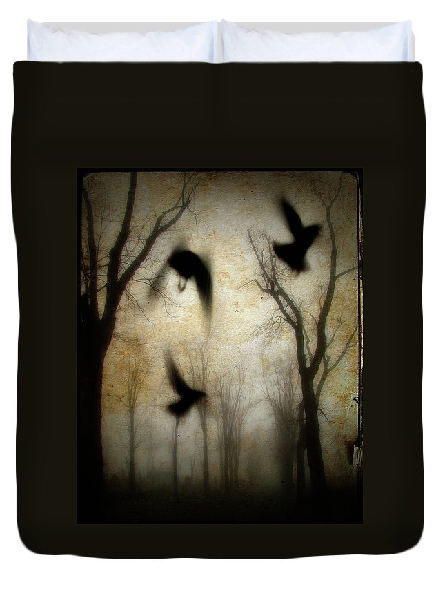 Trees Duvet Cover featuring the photograph Dusk Begins As The Crows Fly by Gothicrow Images