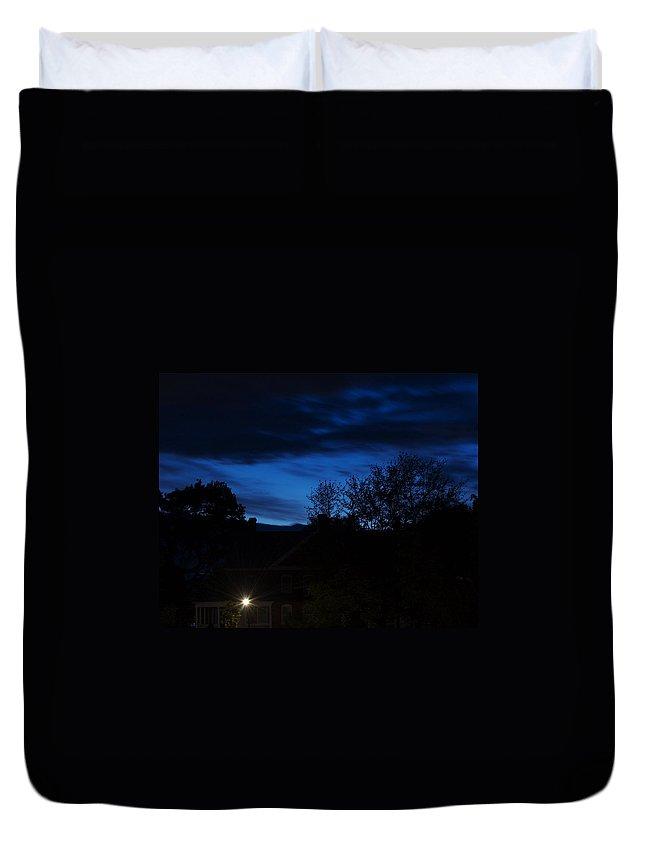 Silhouette Duvet Cover featuring the photograph Dusk by Faith Harron Boudreau