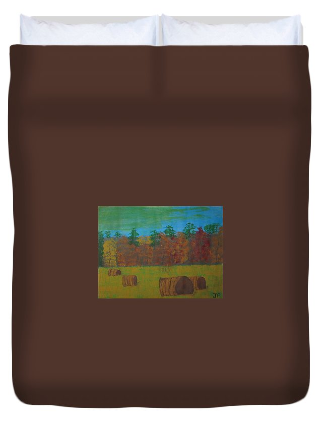 Dusk Duvet Cover featuring the painting Dusk In The County by Judy Pearce