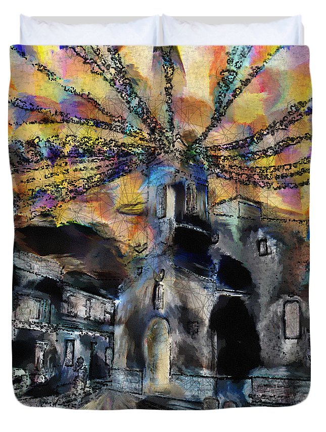 Ebsq Duvet Cover featuring the photograph Dusk In The Church Square by Dee Flouton