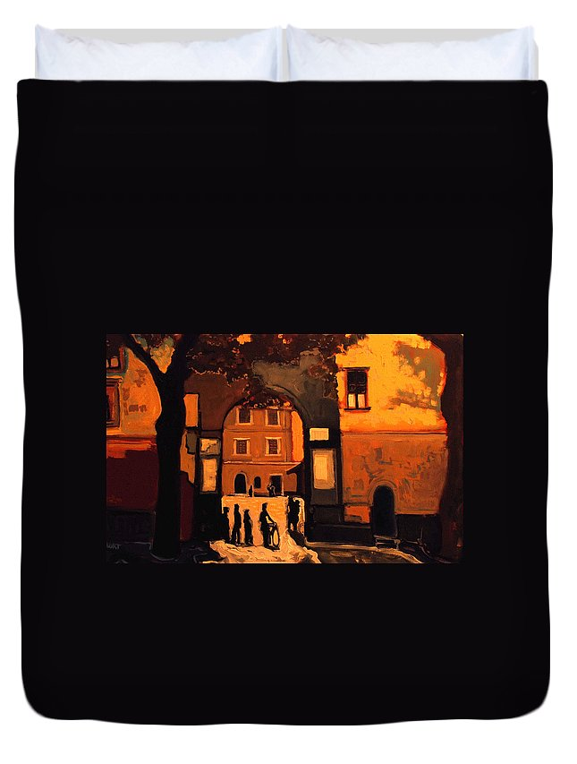 Cityscape Duvet Cover featuring the painting Dusk by Kurt Hausmann