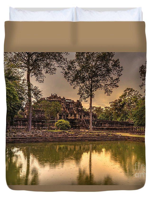 Sunrise Duvet Cover featuring the photograph Dusk Light Preah Khan Temple Reflection by Mike Reid