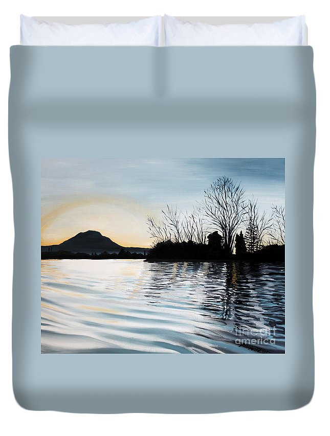 Dusk Duvet Cover featuring the painting Dusk On Diablo by Elizabeth Robinette Tyndall