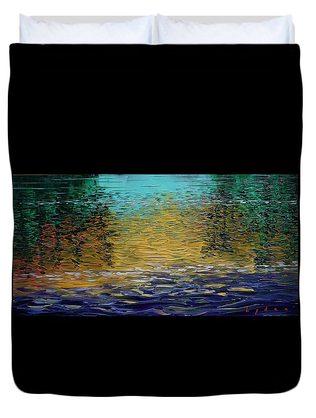 Water Duvet Cover featuring the painting Dusk On Robert's Bayou by Les Lyden