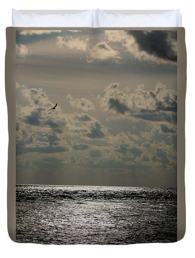 Sunset Duvet Cover featuring the photograph Dusk Sets In by Barbara Bowen