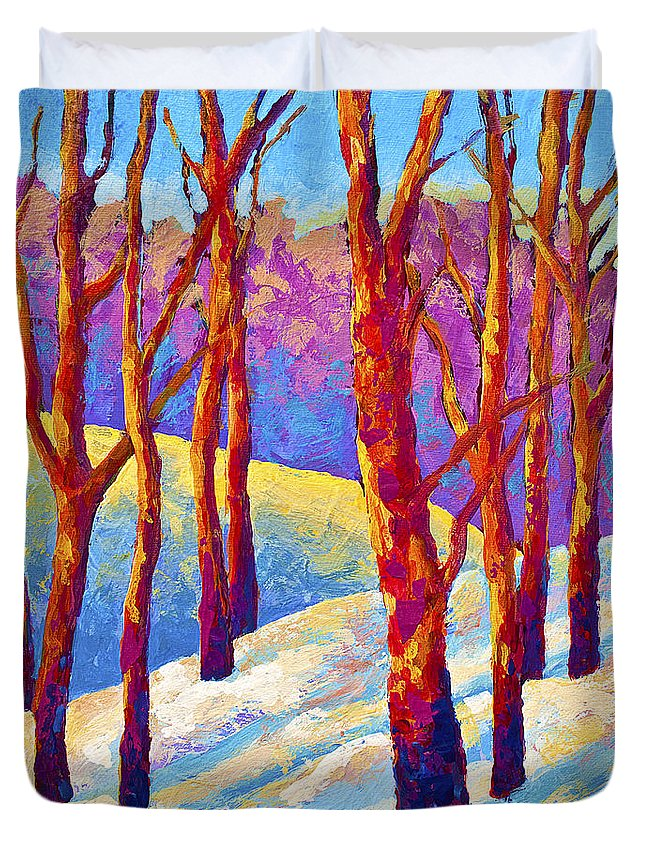 Trees Duvet Cover featuring the painting Dusk's Veil by Marion Rose