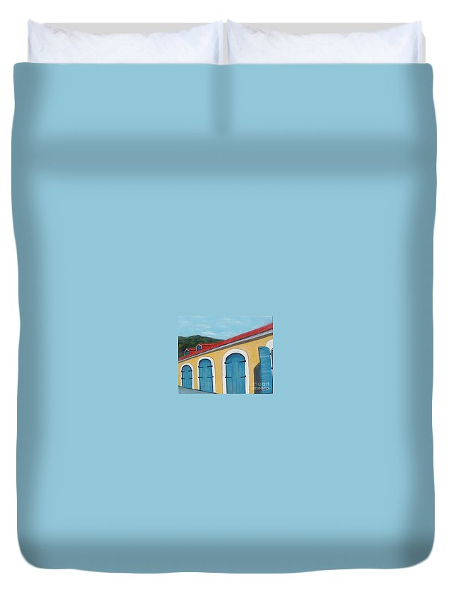 Doors Duvet Cover featuring the painting Dutch Doors Of St. Thomas by Laurie Morgan