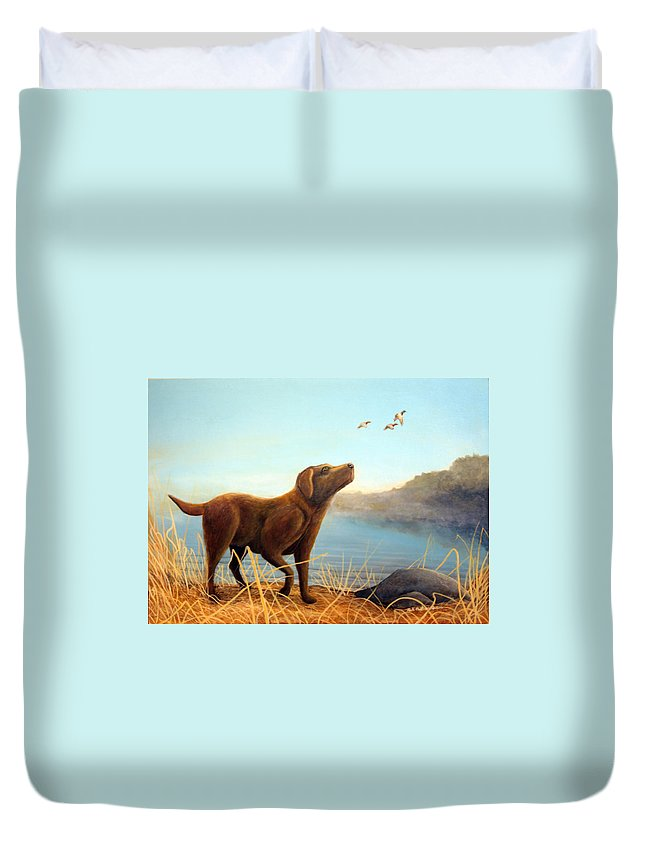 Chocolate Lab Painting Duvet Cover featuring the Dutch by Rick Huotari