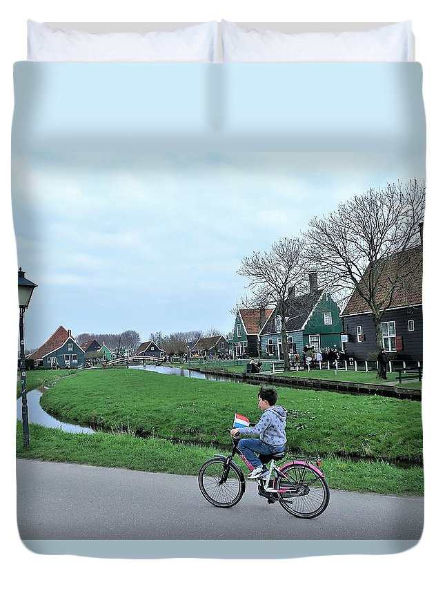 Landscape Duvet Cover featuring the photograph Dutch Village by Sandra Bourret