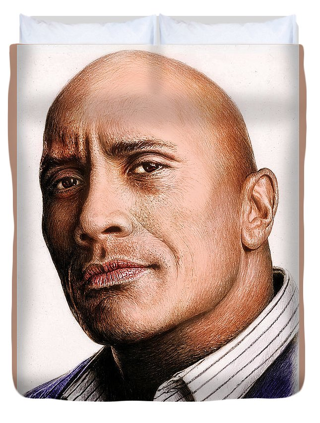 Dwayne Johnson Duvet Cover featuring the painting Dwayne Johnson Color by Andrew Read