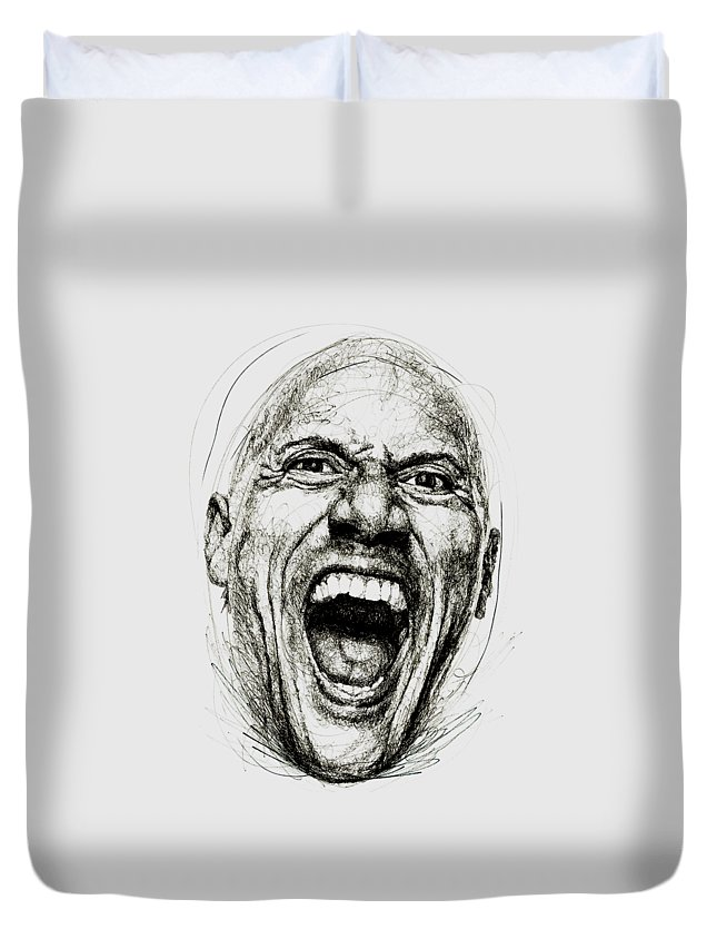 Dwayne Johnson Duvet Cover featuring the drawing Dwayne The Rock Johnson by Michael Volpicelli