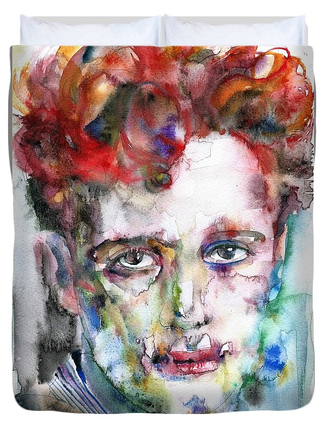 Dylan Thomas Duvet Cover featuring the painting Dylan Thomas - Watercolor Portrait.5 by Fabrizio Cassetta