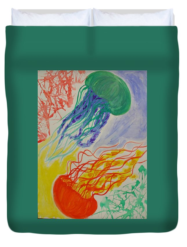 Jellyfish Duvet Cover featuring the painting Dynamic Drifters by Graciela Acosta