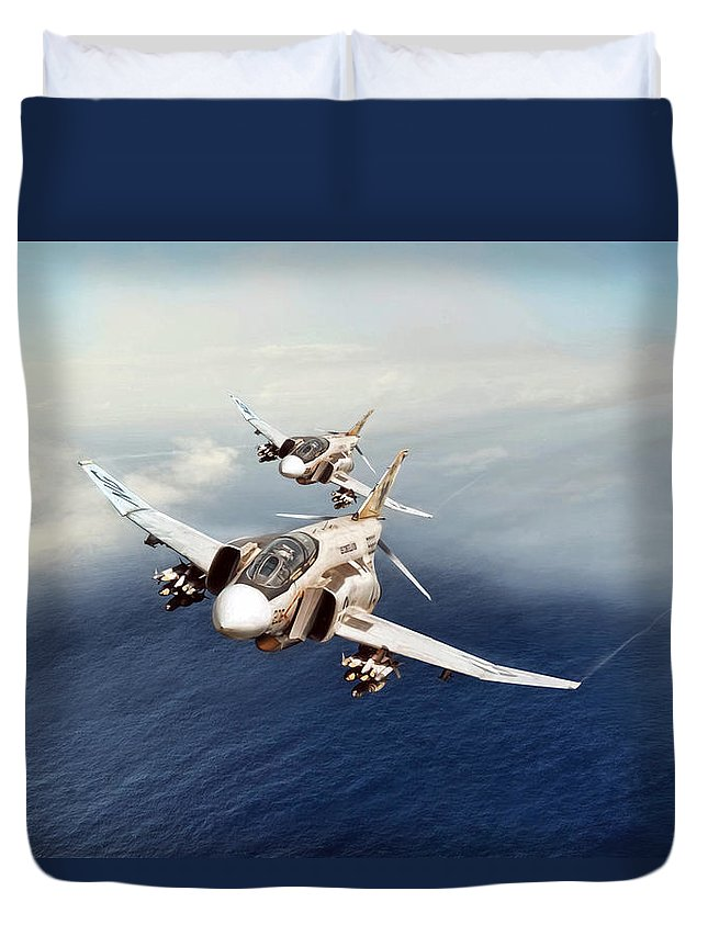 Aviation Duvet Cover featuring the digital art Dynamic Duo by Peter Chilelli