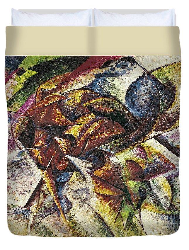 Dynamism Of A Cyclist (dinamismo Di Un Ciclista) 1913 (oil On Canvas) By Umberto Boccioni (1882-1916) Duvet Cover featuring the painting Dynamism Of A Cyclist by Umberto Boccioni