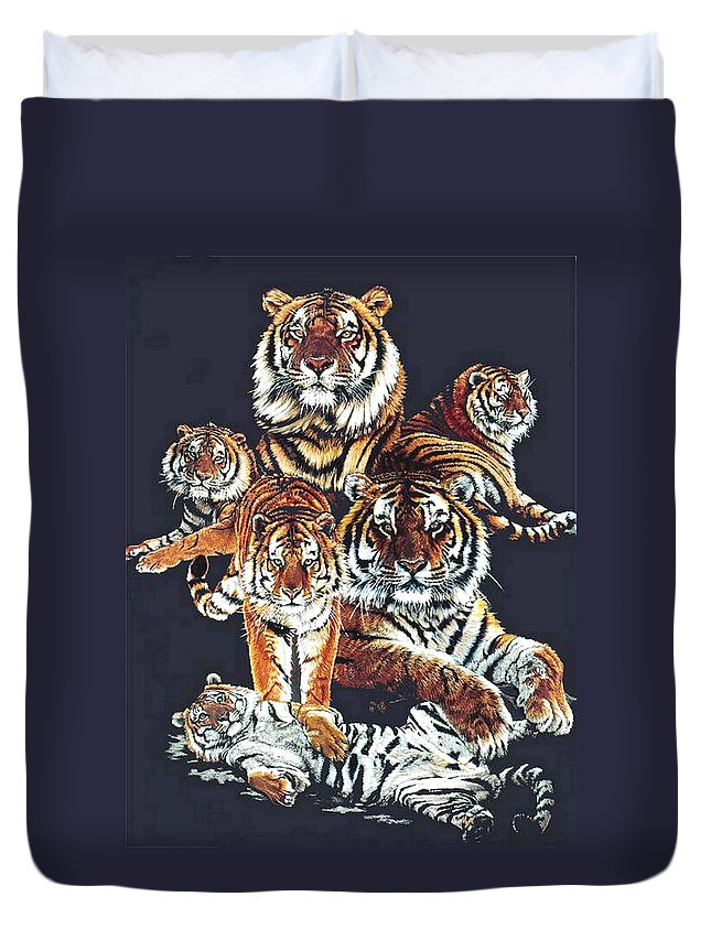 Tiger Duvet Cover featuring the drawing Dynasty by Barbara Keith