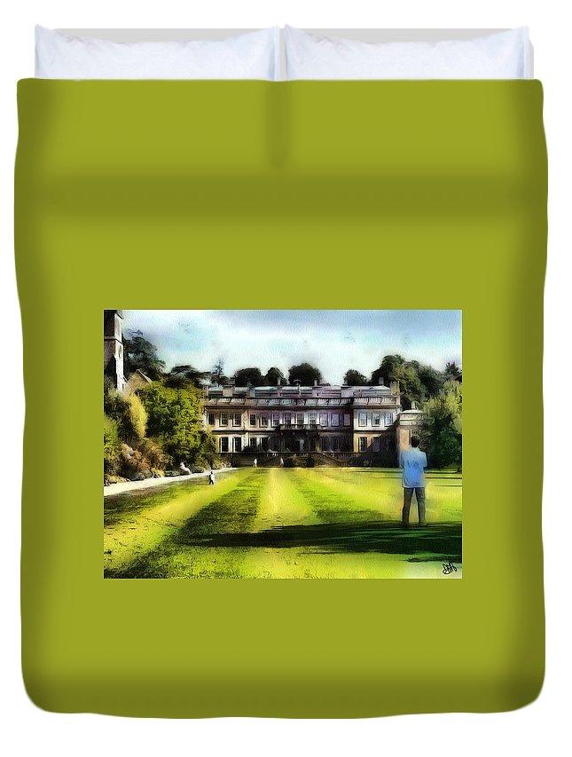 House Duvet Cover featuring the digital art Dyrham Park by Mark Ashley