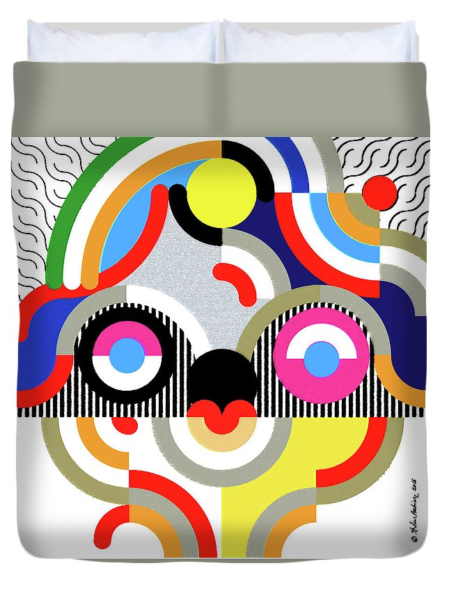Graphic Duvet Cover featuring the drawing E Motion - Princess Face 1 by Arthur Babiarz