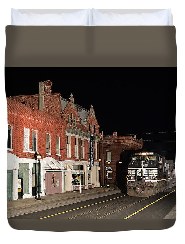 Norfolk Southern Duvet Cover featuring the pyrography E13 North 4-1-2015 by Joseph Johns