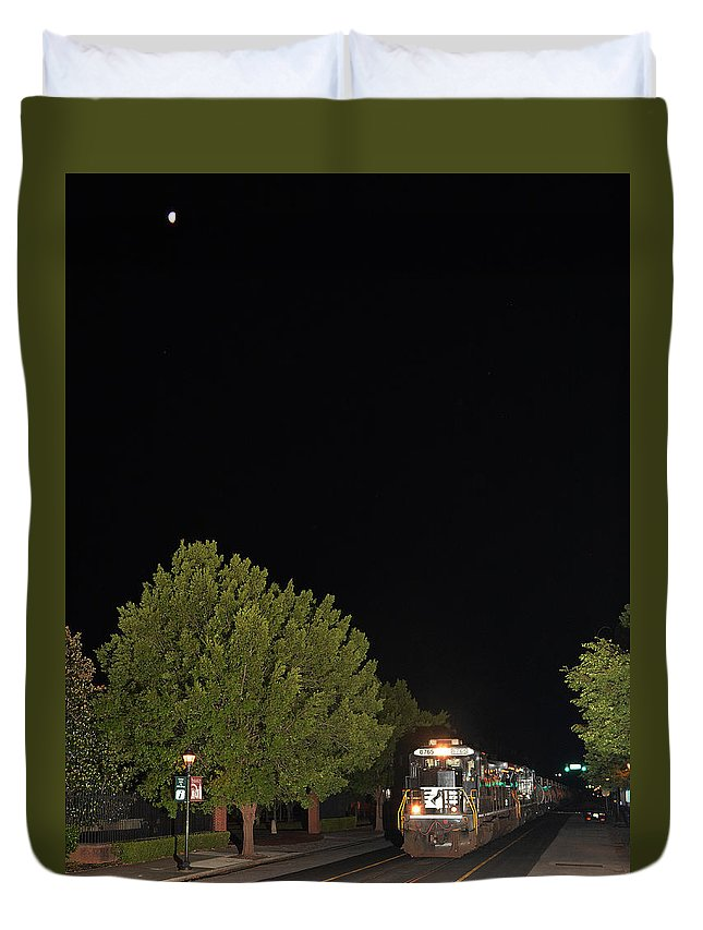 Norfolk Southern Duvet Cover featuring the pyrography E13 Under The Moon by Joseph Johns