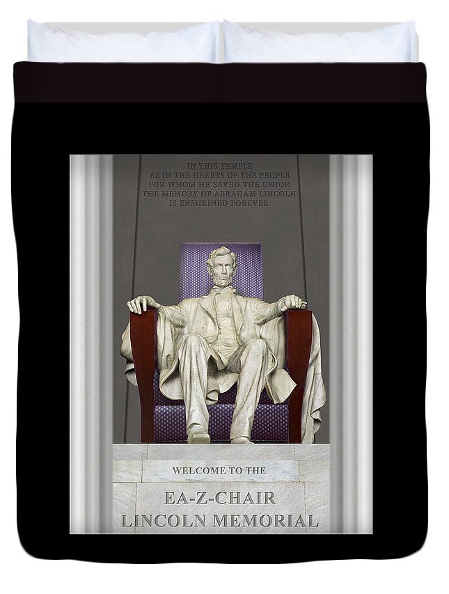 Lincoln Memorial Duvet Cover featuring the photograph Ea-z-chair Lincoln Memorial by Mike McGlothlen