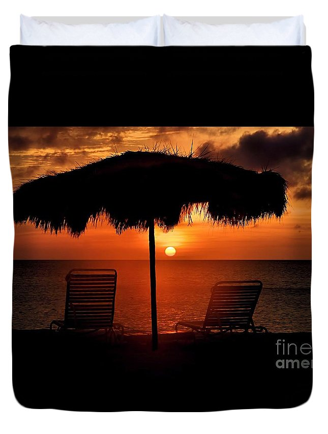 Sunset Duvet Cover featuring the photograph Eagle Beach Sunset by DJ Florek