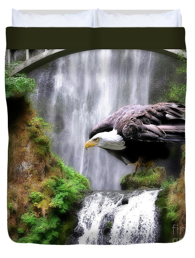 Eagle Duvet Cover featuring the painting Eagle By The Waterfall by Constance Woods