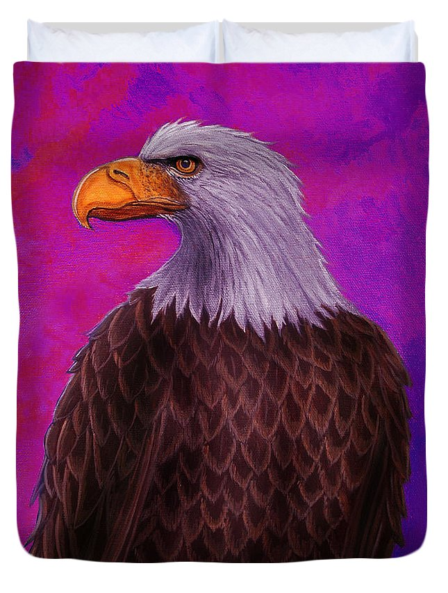 Eagle Duvet Cover featuring the painting Eagle Crimson Skies by Nick Gustafson