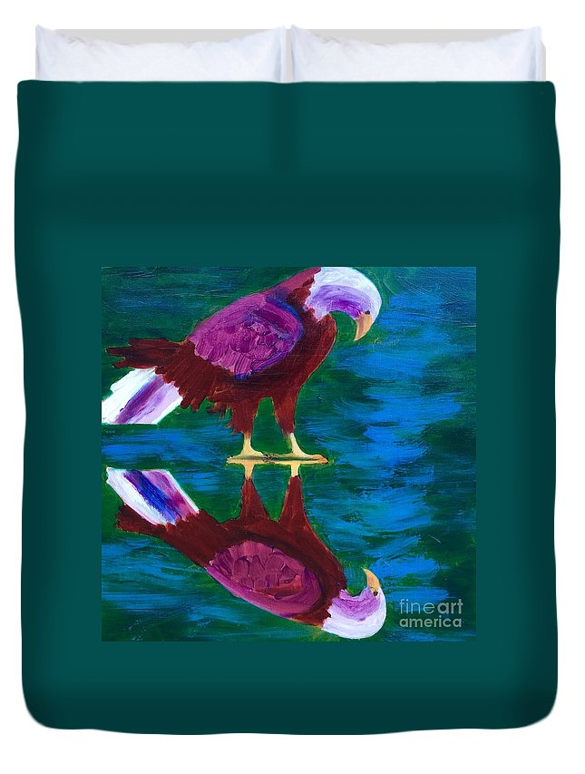 Art Portfolio Duvet Cover featuring the painting Eagle by Donald J Ryker III