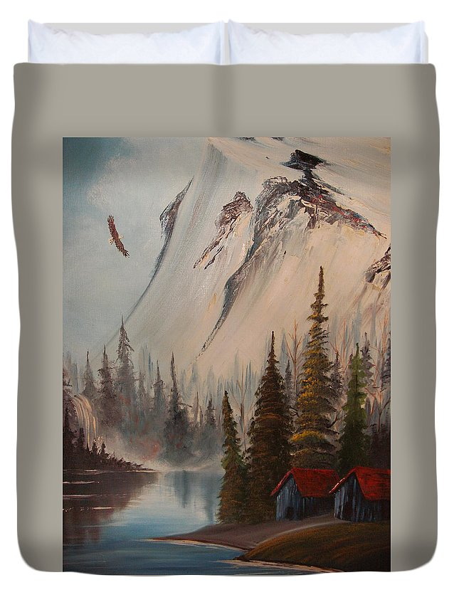 Mountains Landscape With Eagle And Stream Duvet Cover featuring the painting Eagle Mountain by Scott Easom