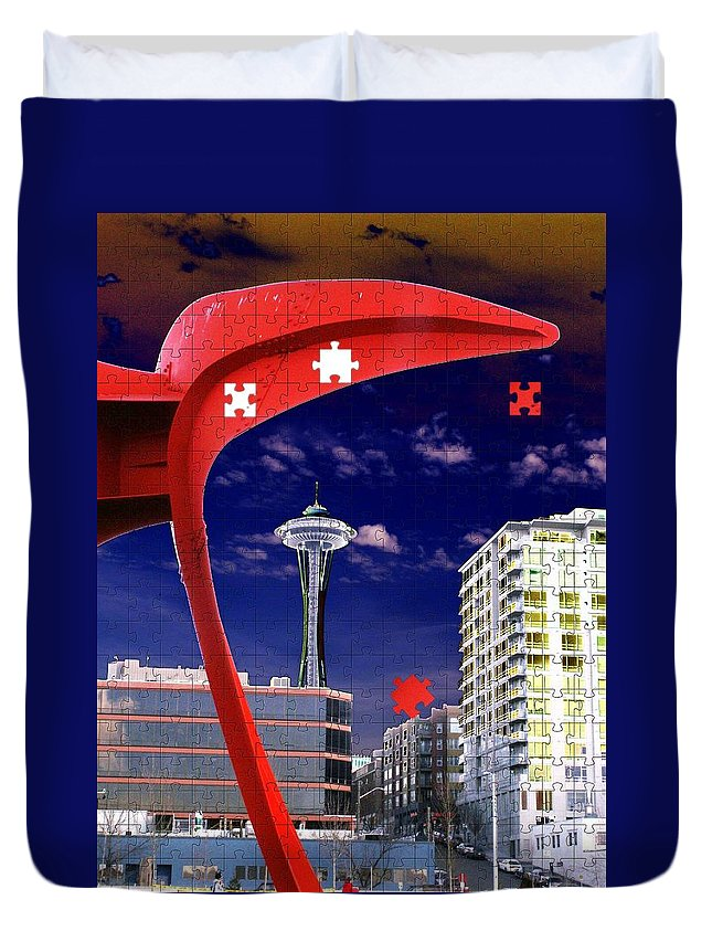 Seattle Duvet Cover featuring the digital art Eagle Needle by Tim Allen
