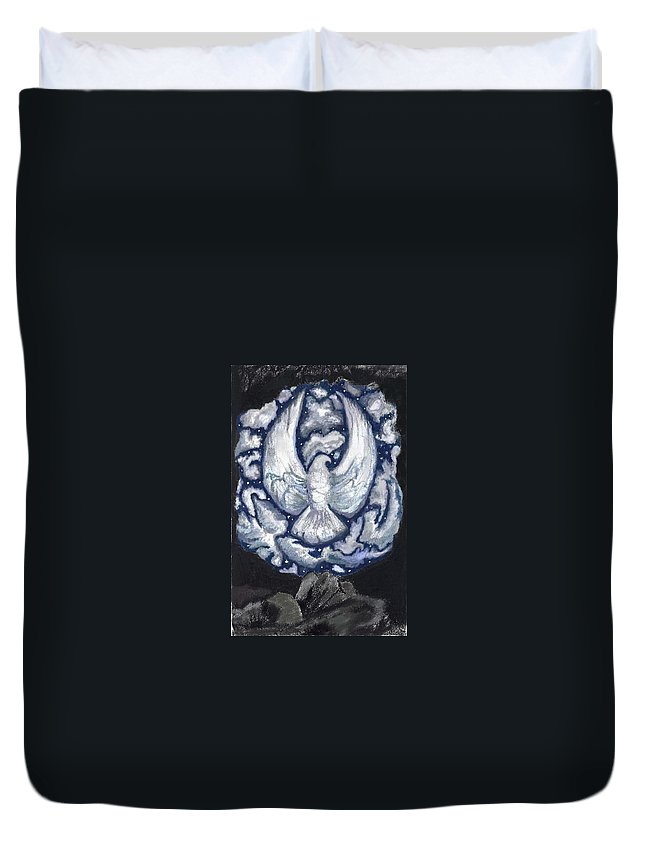 Sky Duvet Cover featuring the drawing Eagle Of Clouds -- Actual Sky I Saw by Dawn Senior-Trask
