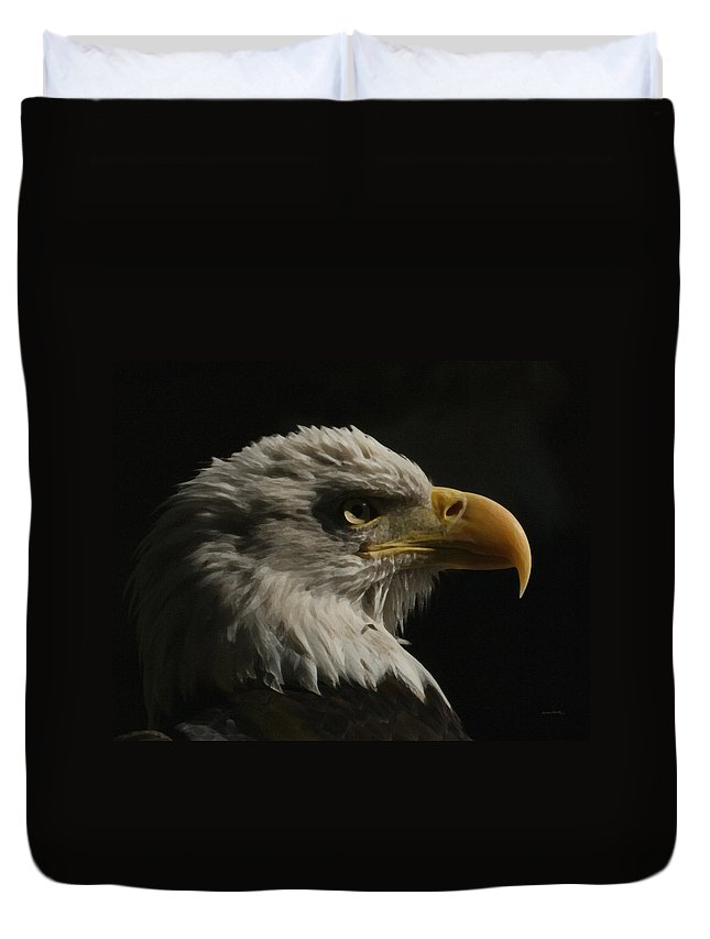 Animal Duvet Cover featuring the digital art Eagle Profile 3 by Ernie Echols