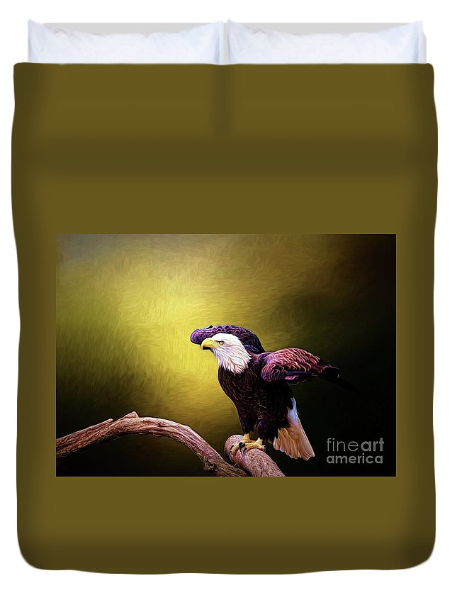 Bald Eagle Duvet Cover featuring the digital art Eagle Ready For Take Off by Suzanne Handel