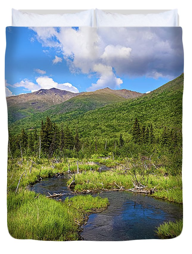 Eagle River Duvet Cover featuring the photograph Eagle River- Alaska by Amber D Hathaway Photography