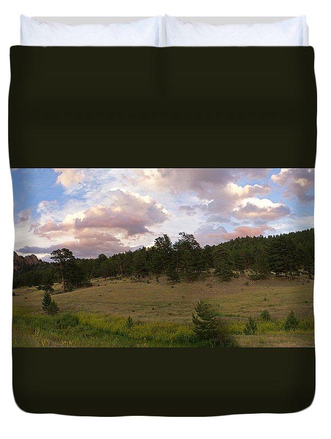 Eagle Roick Duvet Cover featuring the photograph Eagle Rock Estes Park Colorado by Heather Coen