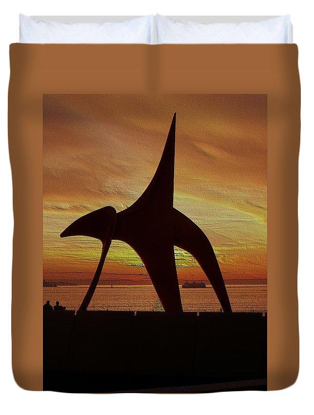 Seattle Duvet Cover featuring the digital art Eagle Sunset Over Elliott Bay by Tim Allen