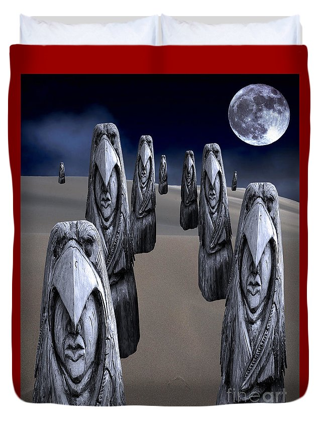Eagleman Duvet Cover featuring the digital art Eagleman Poles by Keith Dillon