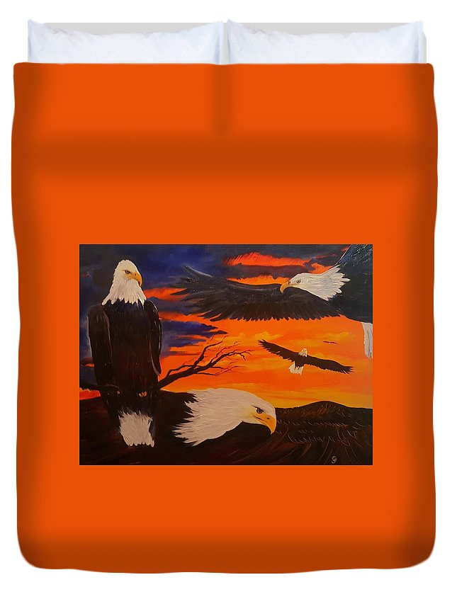 #eagle Duvet Cover featuring the painting Eagles Are Back         76 by Cheryl Nancy Ann Gordon